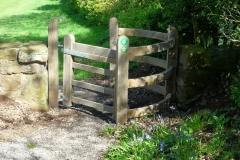 The new Wooden Kissing Gate made of Oak to a replica design based on the previous gate, leaving Meriden Church Yard : 16-May-2013 : photo Peter Page