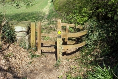 A Traditional style Wooden Kissing Gate, leaving Meriden Church Yard : Spring-2000 : photo Duncan Bean
