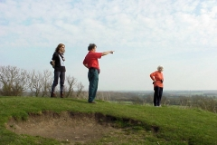 Viewing the 360 degree panorama from the top of the Tump, Brinklow : Spring-2000 : photo Duncan Bean
