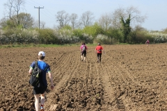 "12:04 : After leaving ""Watering Stop"", heading across ploughed field to Ansty Village."