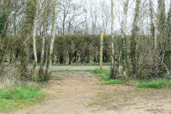 """12:51 : Where the good way marking shows again.  """"Turn Left along track for 75m, and then turn Right into wide enclosed path.  Forward, hedge right to field corner. Turn Left and continue hedge right with playing field on your right ..."""""""